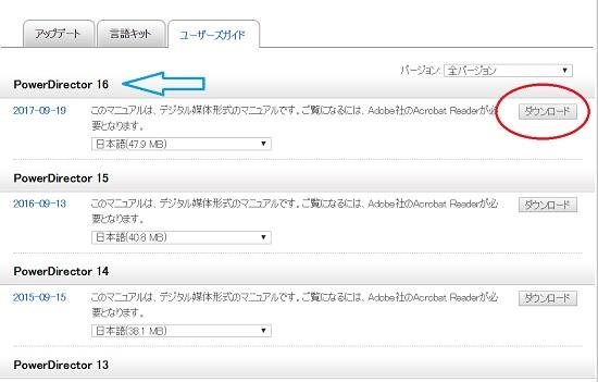PowerDirector 16/15/14/13/他も含めて、マニュアルはありますか?